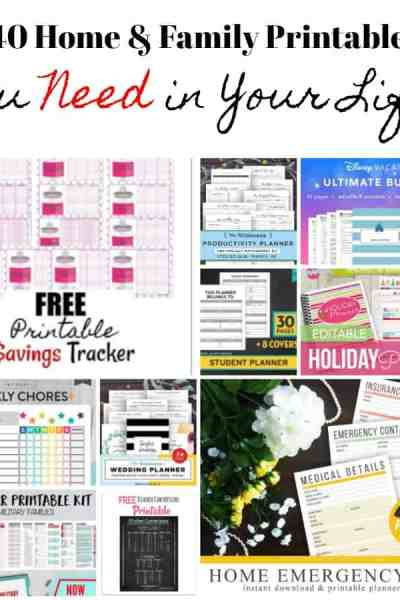 Need to organize your home and life? Get things in order with these 40 Home and Family printables! Home, health, kids, finances and more! They're sure to help you get organized!