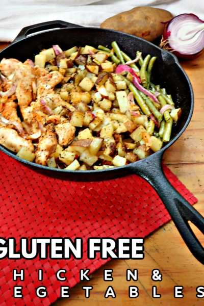 Put the dishcloth down because this chicken and vegetables skillet meal cooks in one pan! Gluten free, soul soothing and delicious, the whole family will beg for more!