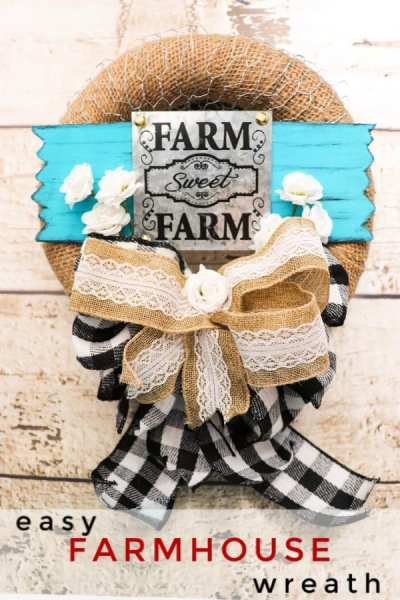 If you love farmhouse decor, you'll love how simple this easy farmhouse wreath is to make! Using Dollar Tree or Hobby Lobby supplies, it fits any budget and looks great in any home!