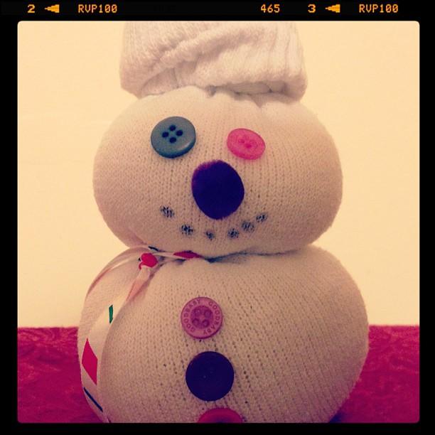 Sock snowman by Ellie