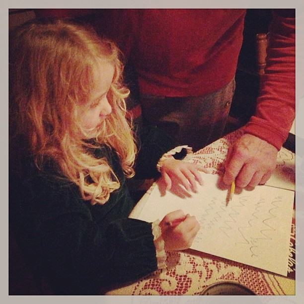 Writing a note to Santa before bed. :)