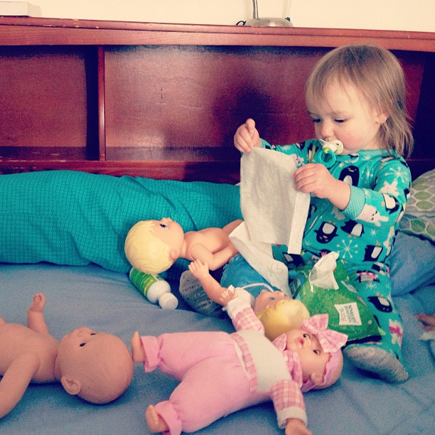 Lost my half of the bed to a doll hoarding problem.