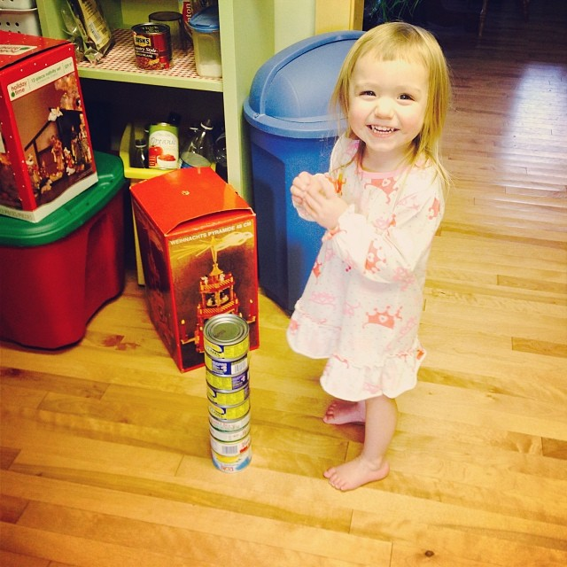 We build towers with Grampy and Gramma's canned goods while they're away.