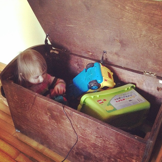 That toy box is being put to good use Grampa Tom :)