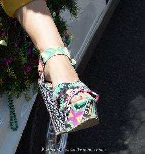 Crazy shoe on parade participant