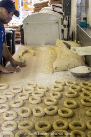 2014 - Montreal - St V Bagel shop - making bagels-1