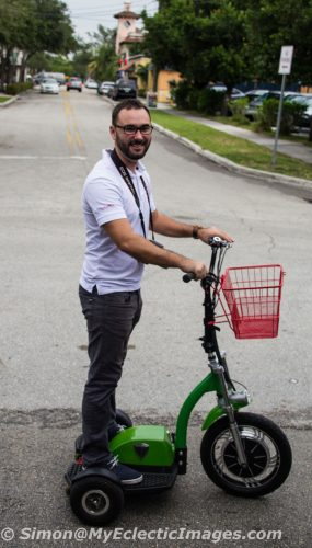 Cycle Party Co-Owner Chris Haerting Chasing the Quadracycle to Take Publicity Shots