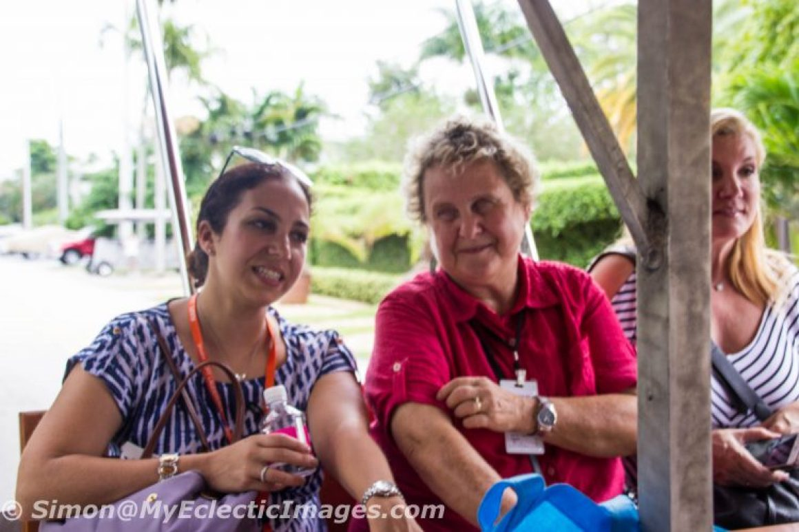 Relaxing and Chatting with Foodie Tour Organizer, Yael Baker, While Others wer Busting their Asses