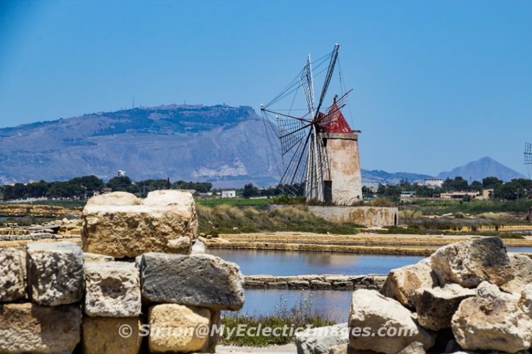 Windmill at the Salt Ponds Near Masala, Sicily