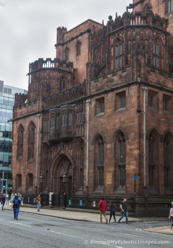 Exterior of the John Rylands Library in Manchester, England