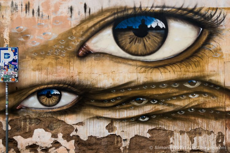 Mural of Eyes in Trastevere, Rome, Italy (©simon@myeclecticimages.com)