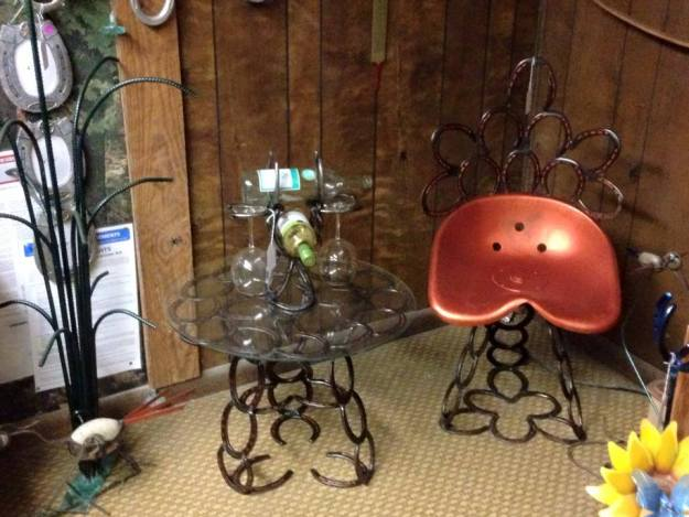 Horseshoe Table, Chair, and Wine Rack