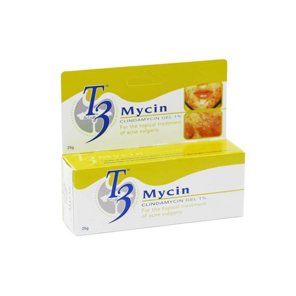 T3 Mycin Gel 25g is used to treat acne