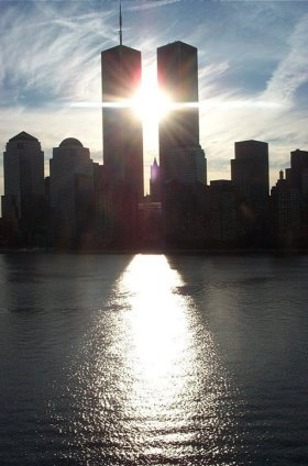 Twin towers sun