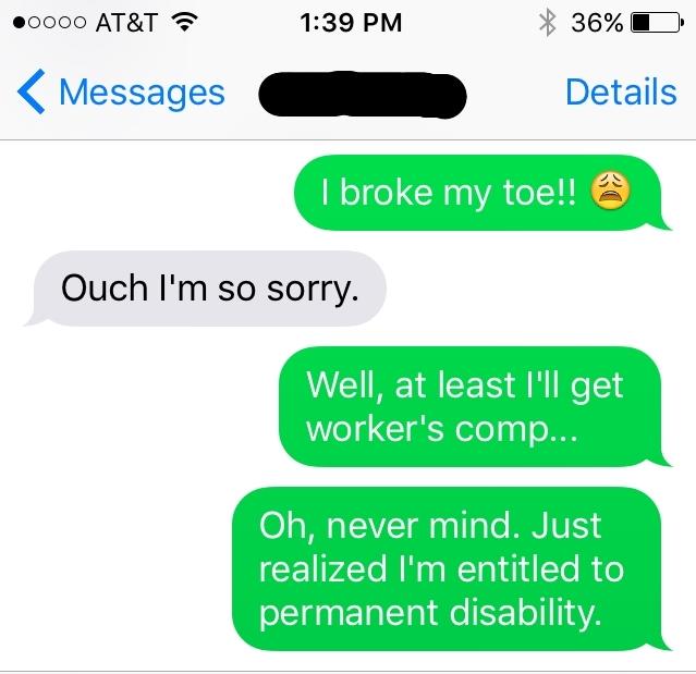 toe text