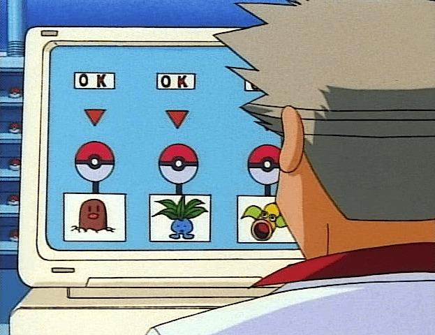 professor oak on computer