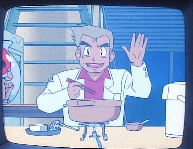 professor oak eating wave hello