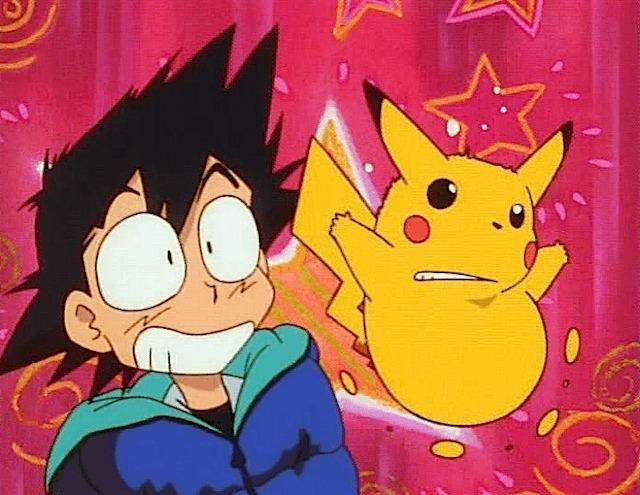 ash pikachu sleep bag startled awake