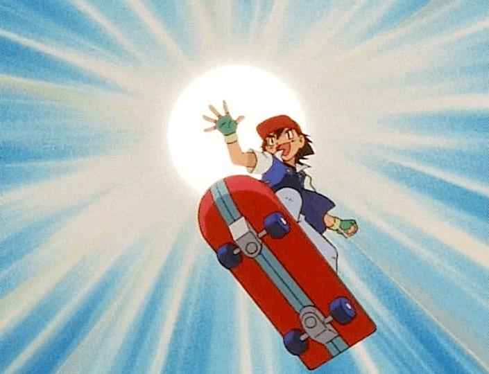 ash ketchum skateboarding