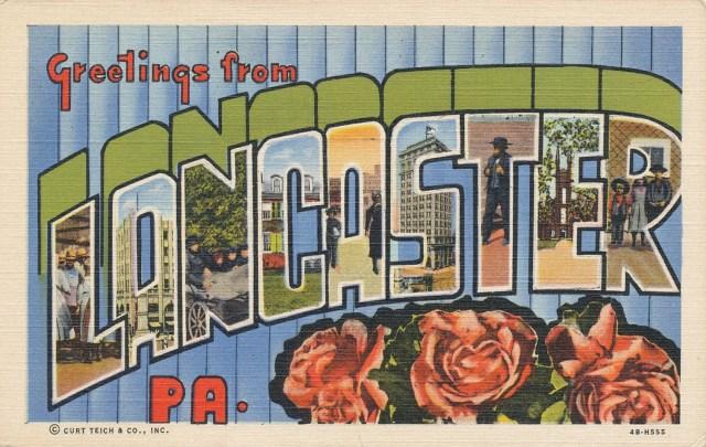 greetings from lancaster pennsylvania postcard