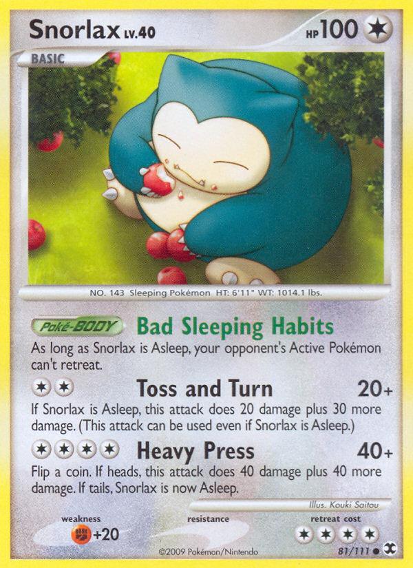 Snorlax Rising Rivals RR 81 Pokemon Card