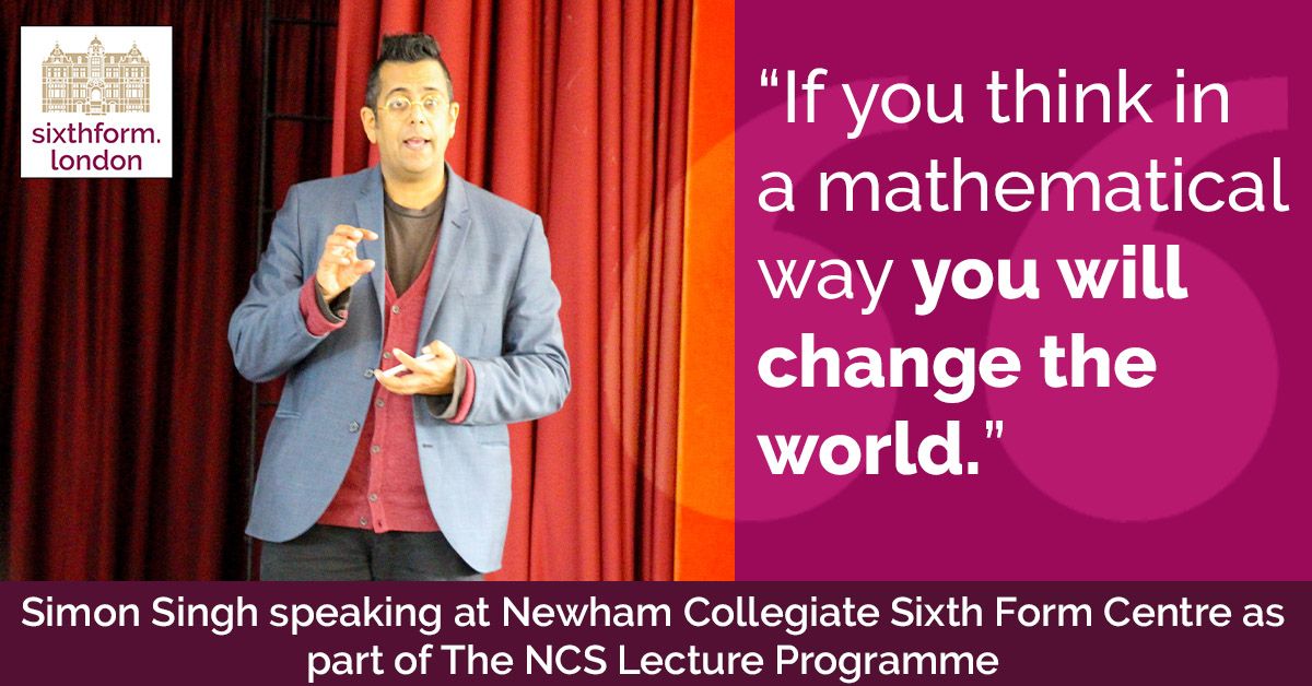 QUOTE Simon Singh Delivers A Lecture For Newham Collegiate Sixth Form Centre (The NCS) Maths Students