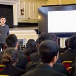 Leading Genetics And Artificial Intelligence Researcher Dr Adam Rutherford Delivers A Lecture To Newham Collegiate Sixth Form Centre (The NCS) Science Students