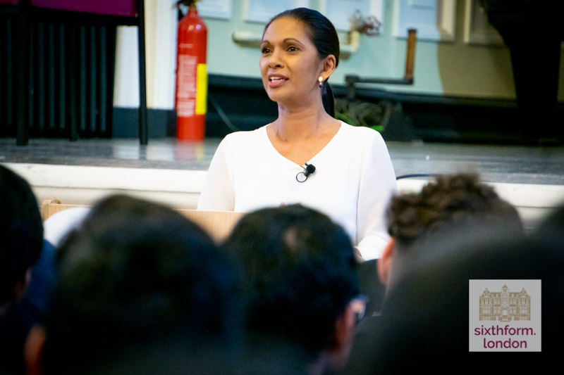 Gina Miller, Political Activist & Business Woman, Delivers A Speech To Newham Collegiate Sixth Form Centre (The NCS) Students