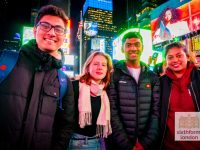 Exploring New York on our Ivy League Trip - Students in Times Square