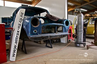 The Project 64 Mini Cooper S bodyshell at Alltrax NZ. Photo by Mike Wilson ©2011. All Rights Reserved.