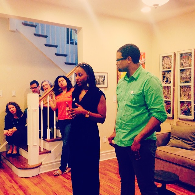 LaShana Jackson and Faheem Majeed in their South Shore Home, hosting a Chicago Home Theater Festival in 2014.