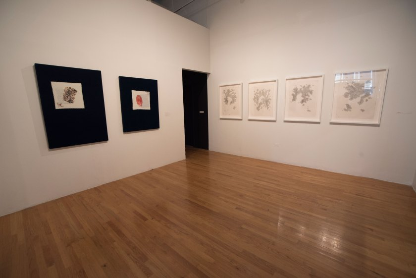 "Work by Johana Moscoso (left) and Ellington Robinson (right) at ""Silos."" Photo credit: Milo Bosh"