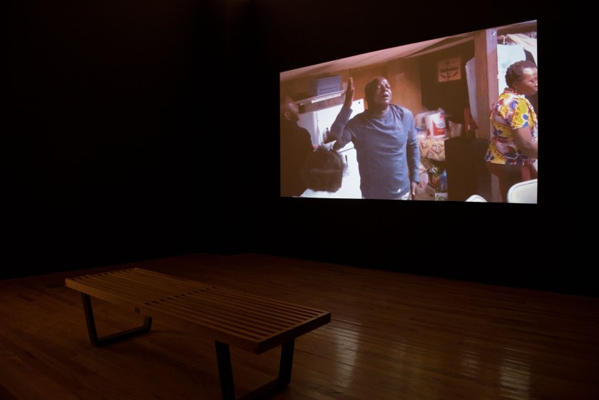 "A video installation by Yaw Agyeman at ""Silos."" Photo credit: Milo Bosh"