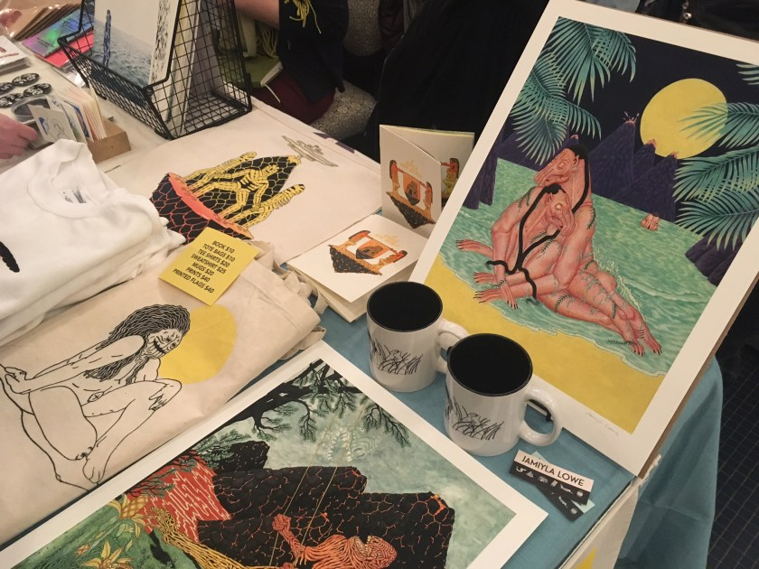 Items from Jamiyla Lowe's table at the Chicago Art Book Fair.