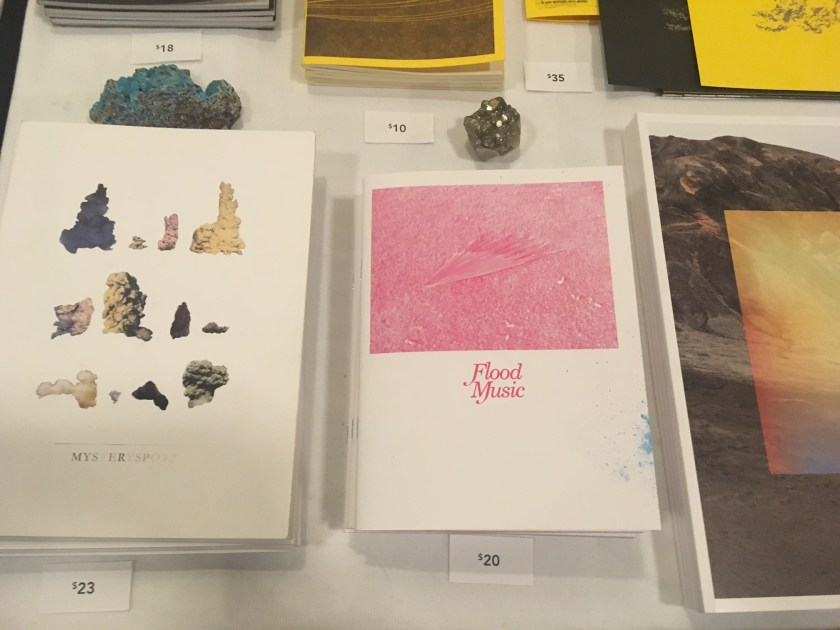 Items from the Mystery Spot Books table at the Chicago Art Book Fair.
