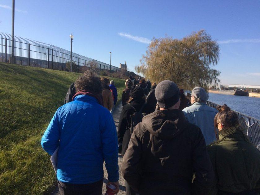 Deep Time Chicago and friends walk through Canal Origins Park on a warm December morning. Photo: Nina Wexelblatt