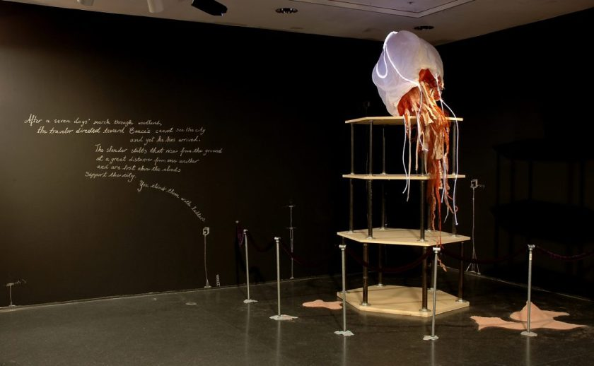 """D. Denenge Duyst-Akpem, """"Rapunzel Revisited: An Afri-sci-fi Space Sea Siren Tale,"""" 2006. Installation image. Image credit: Michael Rose and Museum of Contemporary Art Chicago."""
