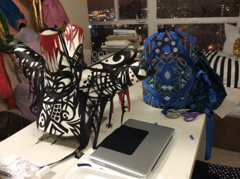 """Image of interior of Denenge's studio, with heaaddresses in progress for the """"Ma(s)king Her"""" 2017 performance by Honey Pot (based on drawings and textiles by Euzhan Sims. Image courtesy of D. Denenge Duyst-Akpem."""