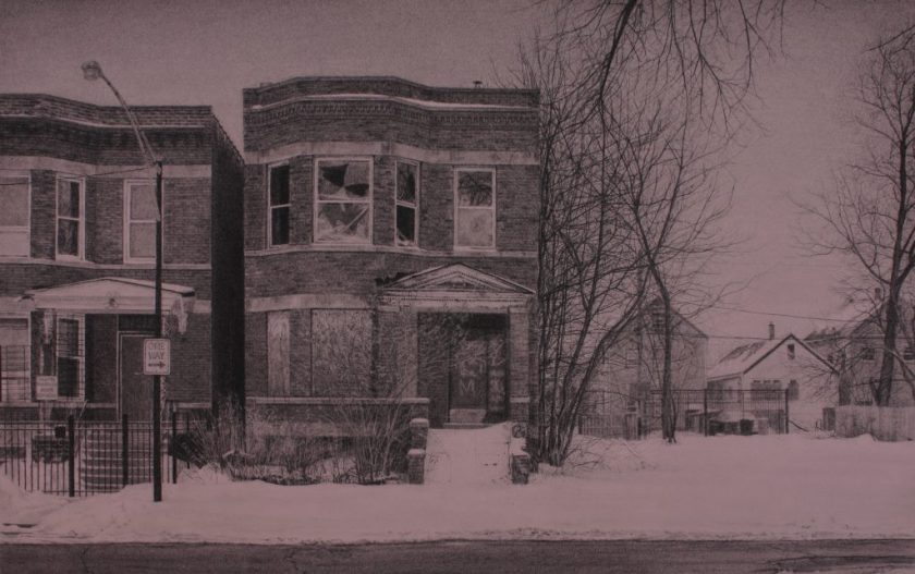 "Jennifer Cronin, ""What was Once a Home (South Laflin Street),"" 2015. Carbon pencil on toned paper, 11"" x 19.5"". Image of a brick two-flat building with broken and boarded windows, graffiti on the entrance, and unshoveled snow covering the entryway and sidewalk. Beside it is another brick house and a street lamp, and on the other side of the two-flat is an empty plot with bare trees, and beyond the plot are more houses in the background. Image courtesy of the artist."