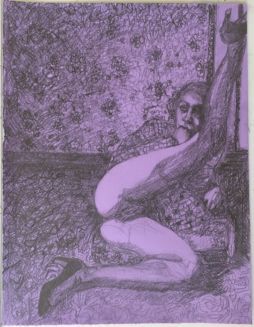 Untitled, graphite on lilac tinted paper, 12.5 x 10 inches, 2017
