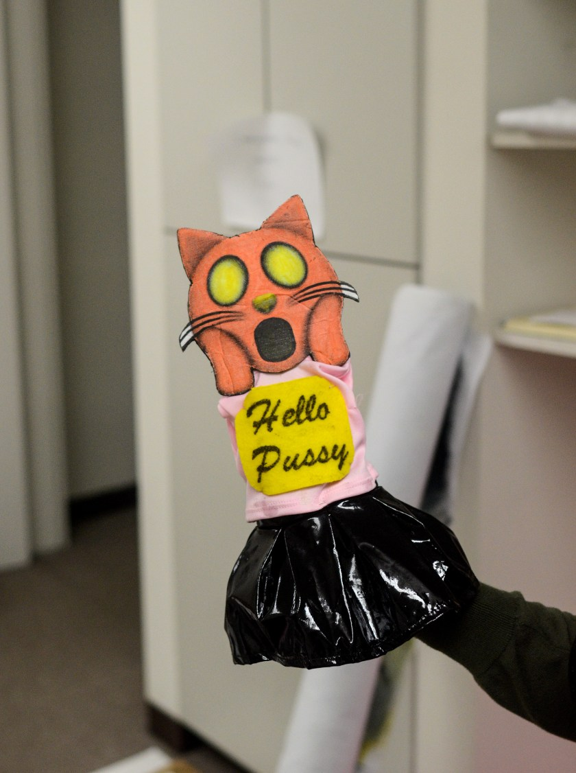 "Image: A hand puppet has the head of an orange emoji cat making a shocked face that alludes to ""The Scream"" by Edvard Munch. It wears a pink and black outfit with a yellow sign that says ""Hello Pussy."" Image by William Camargo."