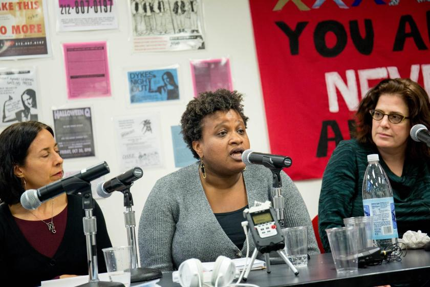 Erin Glasco speaks on the panel at the opening reception of Take Back the Fight: Resisting Sexual Violence from the Ground Up at Pop-Up JUST Art Gallery April 2018.