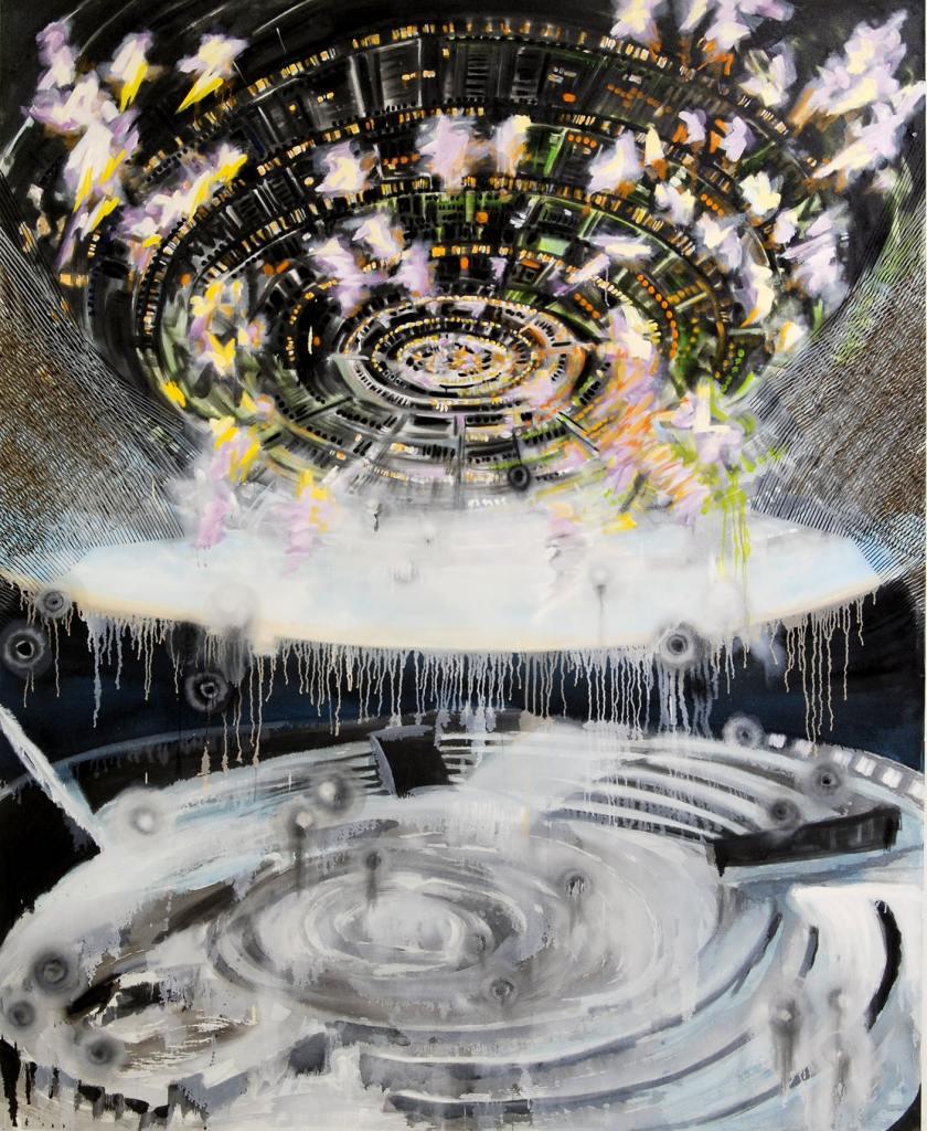 "Image: ""Polaris"" painting from Encounter 16-B-1 2016 96""x78"" Sumi ink on canvas. Image courtesy of Michiko Itatani"