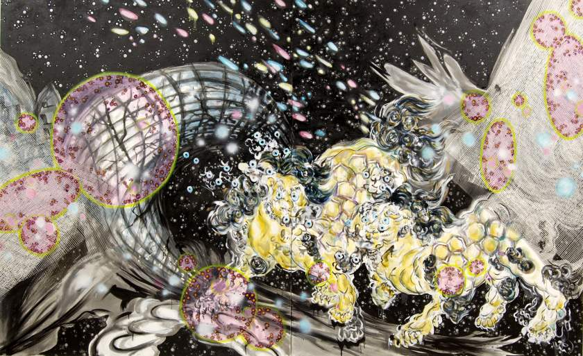 "Image: ""Cosmic Wanderlust"" painting from Virtual Eitoku 2013 96""x154"". Sumi ink & oil on canvas. Image courtesy of Michiko Itatani."