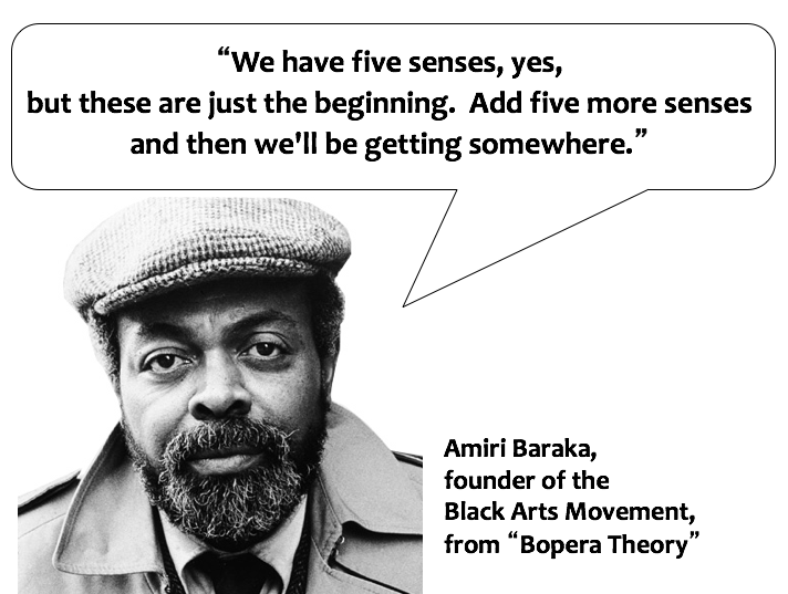 """Image: Photo of Amiri Baraka with quote from """"Bopera Theory"""" from Black Theatre: Ritual Performance in the African Diaspora."""