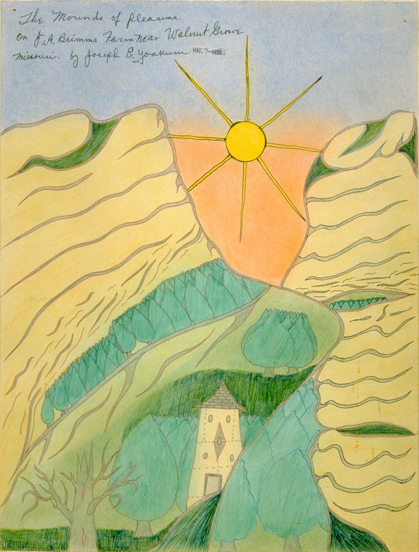 Joseph Yoakum (American, 1886-1972). The Mounds of Pleasure/on JA Brimms Farm Near Walnut Grove..., 1970. Ink and pastel on paper, 15 3/8 x 11 3/4 in. (39.05 x 29.85 cm.) Richard and Ellen Sandor Family Collection.