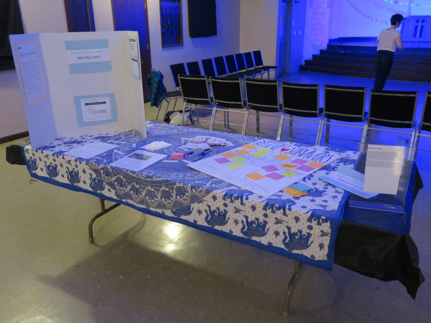 """Image: The interactive display related to Lani T. Montreal and Maxine Patronik's performance """"Blood Memory,"""" at the Chicago Danztheatre Auditorium as part of the Body Passages culminating event. In the foreground, a table is covered with blue-and-white elephant-print cloth, a tri-fold posterboard, and various papers, including a large one that reads """"SUPPORT BELIEVE ♡ SURVIVORS"""" and shows a drawing of a tree with colorful post-it note leaves. In the background, two rows of chairs and the front of the stage are visible, forming three sides of the square performance area, where one person is standing. Photo by Marya Spont-Lemus."""