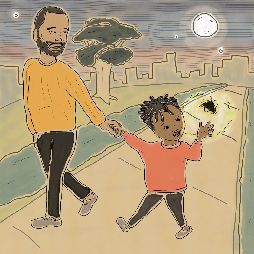 Image: Illustration from Missing Daddy by bria royal. The book's protagonist walks down a sidewalk holding hands with her father. They're looking at a lightning bug and smiling. Image courtesy of the artist.