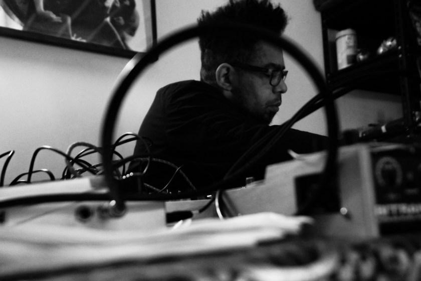 Damon Locks prepares his equipment in his Chicago Art Department Studio in Pilsen.