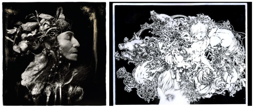 "Image (left): A black and white photograph showing a face of a figure, in profile. Where the rest of the head and shoulder would be, are plants and other unidentifiable organic material. The figures eye is closed and they face the right edge of the frame. Harvest, 1984 © Joel-Peter Witkin / image courtesy Catherine Edelman Gallery, Chicago. Image (right): A black and white drawing of an intricate mass of plant-like material, interwoven with a baby, pigs heads, and possible food items. The pile sits atop a figures head, with most of the figure out of frame. ""Thank You Annabelle"" by Michael Taylor Orr, courtesy of the artist."